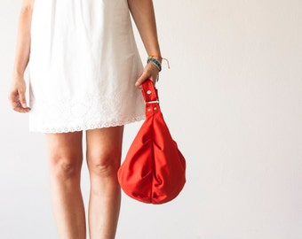 Cotton hobo bag red, slouchy bag shoulder small shoulder purse everyday womens bag canvas bag - Mini Kallia bag