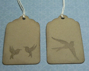 Hand Stamped Bird Tags