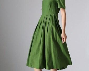 Green pleated dress with back buttons dress midi dress women dress  (973)
