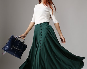 Green skirt, linen skirt, buttoned skirt, maxi skirt, casual skirt, pleated skirt, fall skirt, handmade skirt, plus size skirt  (1040)