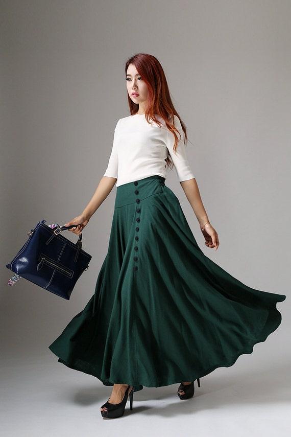 Green buttoned skirt long maxi skirt Casual linen skit