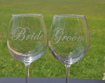 Etched Bride and Groom Personalized Sand Carved Wine Glassesfor the Bride and Groom, Brides, Grooms by JackGlass on Etsy.com