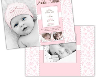 Instant Download - Photoshop PSD layered Templates for Photographers - Birth Announcement - Natalie design