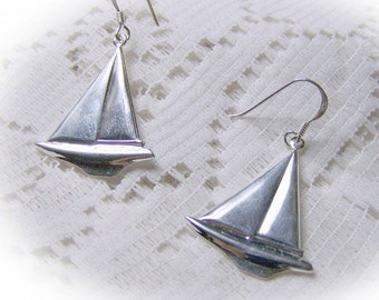 Silver Sailboat Earrings - Sterling