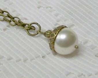 Acorn Necklace - White and Antique Bronze - Woodland Wedding - Autumn Jewelry