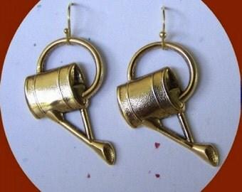 Watering Can Earrings - Time to Water the Flowers  - Gardener's Earrings - Botanical jewelry