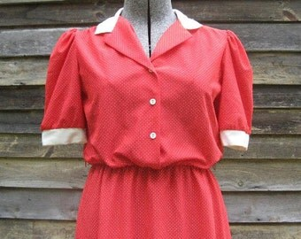 Vintage Red and White Polka Dot I Love Lucy Dress M/L