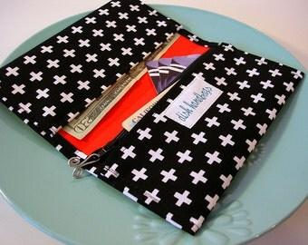 Black and White Cross Checkbook Cover