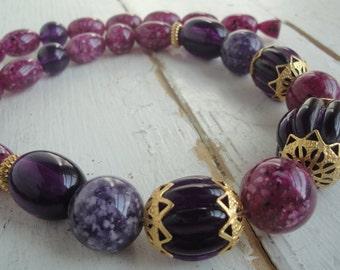 Vintage Purple Plastic Bead Necklace Gold Barrel Clasp