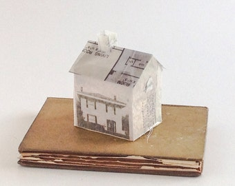 House on a Book - Altered Book - OOAK transparent house 3-D collage