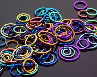 100 Anodized Niobium Jump Rings 18 gauge - You Pick Color and Diameter