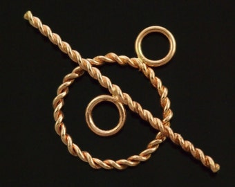 Medium Twisted Toggle Clasp in 14kt Gold Filled, Argentium Sterling Silver, Sterling Silver, Antique Silver