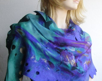 Nuno Felted Scarf Shawl Wrap Silk Wool  Violet Emerald Caribbean Big Irregular Attractive