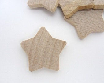 """12 Rounded wooden stars 1 3/8 inch (1 3/8"""") unfinished DIY"""