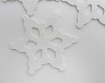 """Wooden snowflake white small 2 1/2"""" set of 5"""