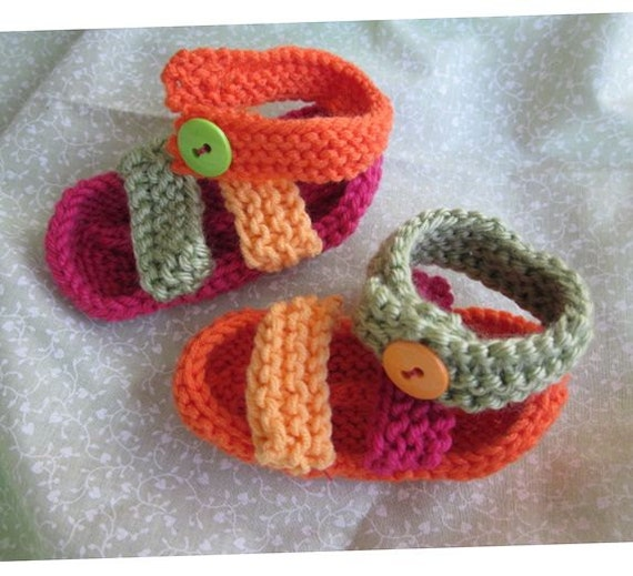 Hand knit baby sandals