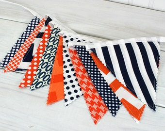 Bunting Banner, Photography Prop, Fabric Flags, Baby Nursery Decor, Birthday Decoration - Orange, Navy Blue, Chevron, Dots