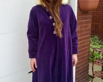 SALE  Vintage 60s Luxury High End Purple Velvet White Mink Rhinestone Button Ladies Opera Swing Coat Size Large