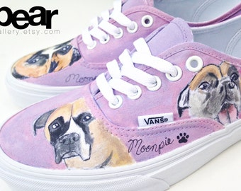 Custom Vans Hand Painted Shoes - Dog Boxer Shoes
