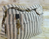 Camera Bag  / Black & Natural  Ticking / rustic vintage style / Linen flower, Digital womens camera purse / Padded / by Darby Mack