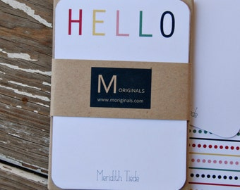 Personalized Note Cards - Set of 8 - Colorful Hello