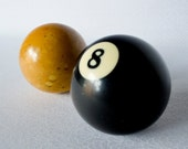 Speckled Yellow Billiards Cue Ball and 8 Ball