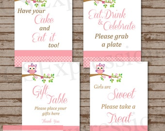 Pink Polka Dot Owl Baby Shower Table Signs