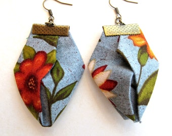 Fall floral printed fabric origami earrings