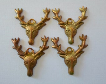 Vintage Oxidized Brass Deer Head Charms Buck Findings Moose Woodland Charm Lot Of 4