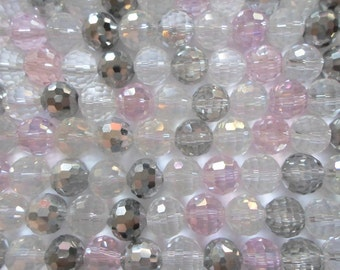 1 Strand Faceted Crystal Rounds 8mm - Silver Clear Light Pink - Battleship Rose