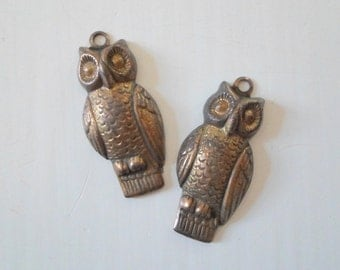 Oxidized Brass Owl Charm Dangles Pendant Findings 11mm x 24mm