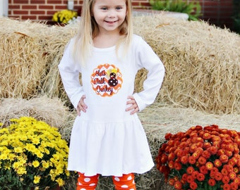 Girls Thanksgiving dress, girls turkey dress, girls Fall dress, toddler Thanksgiving dress, infant Thanksgiving dress