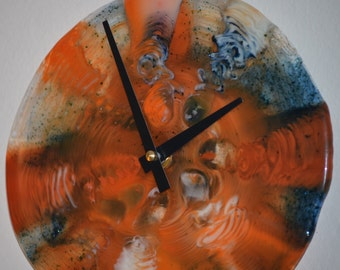 Fused Glass Clock in Orange, Blues and White