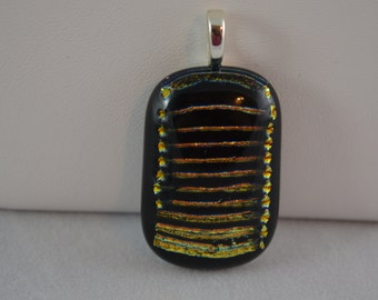 Fused Glass Necklace in Black, Gold and Yellow Dichroic Glass SRAJD
