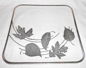 Vintage Hollywood Regency Glass  Dish Serving Tray with Applied Silver Leaf  Foliage  Motif Mid Century Modern