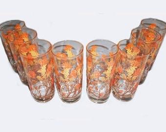 Vintage 1970'S  Set of 8 Glasses Flower Tree and Leaves Orange Gold Brown  Design by Libbey Retro Modern Hollywood Regency