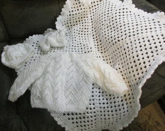 "Hand Knit Baby-Infant ""Custom Made"" Sweater sets. U Choose Color and Size ""GREAT BABYSHOWER GIFT""!!!!"""