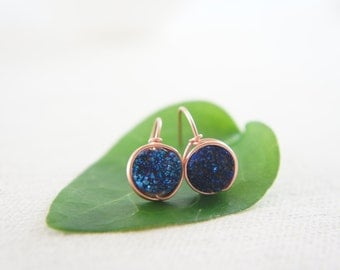 dark blue titanium Druzy Quartz earrings 14K rose gold fill wrapped earrings, wedding, bridesmaid, gift