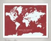 Wedding Gift - Guest Book Map Print, WORLD MAP - 125 to 250 Guest Sign ons - Modern original Alternative Guestbook interactive Art Print