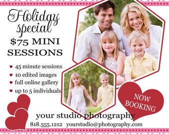 Instant Download - Photoshop PSD layered Templates for Photographers - Marketing Board - Holiday Mini Sessions - Dotted Valentine Red