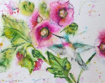 hummingbird art print, watercolor bird painting, hollyhock giclee print, flower garden impressionism, wall decor, Janice Trane Jones