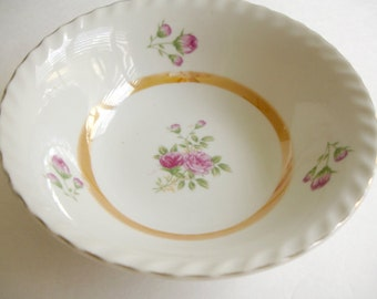Vintage China Bowl =  Vegetable Serving Bowl  =  Pink Flowers=  Shabby Cottage Chic