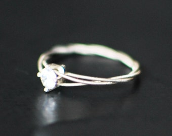Guitar String Purity Ring, CZ Engagement Ring, Promise Ring, Purity Ring, Unique Engagement Ring, Guitar String Jewelry, Guitar Gifts
