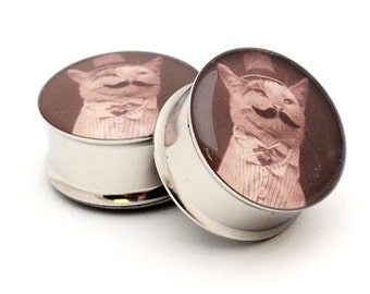 Gentleman Kitty STYLE 3 Picture Plugs gauges - 16g, 14g, 12g, 10g, 8g, 6g, 4g, 2g, 0g, 00g, 7/16, 1/2, 9/16, 5/8, 3/4, 7/8, 1 inch