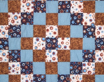 Quilt for Boys in  Blue and Brown Baby Blanket Nursery Bedding or Wallhanging
