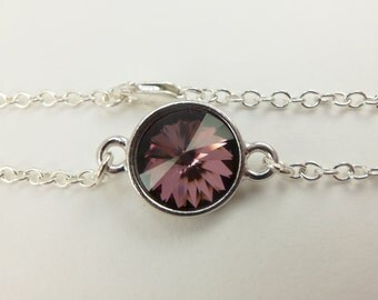 Mauve Silver Chain Bracelet Sterling Silver Crystal Bracelet Swarovski Crystal Chain Bracelet Mauve Pink