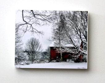 Red Barn, Winter Landscape,  Christmas Decor, 8X10 Wood Panel, Shelf Art, Wall Hanging