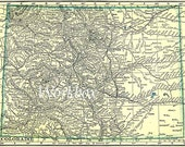 Vintage map of Colorado State for download. 1920s image.   DIY digital download, in pastel yellow and  green.