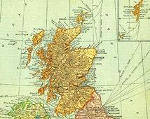 Scotland, Shetland and Orkney Islands.  Vintage 1920s map digital download for diy printing.