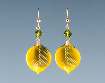 Aspen Leaf Earrings, Aspen Leaf Glass Sculptures and crystals, lampwork beads on gold filled french wires.  Leaf jewelry.